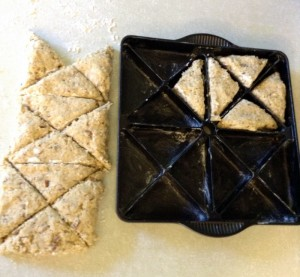 Pace triangles in prepared mini scone pan.