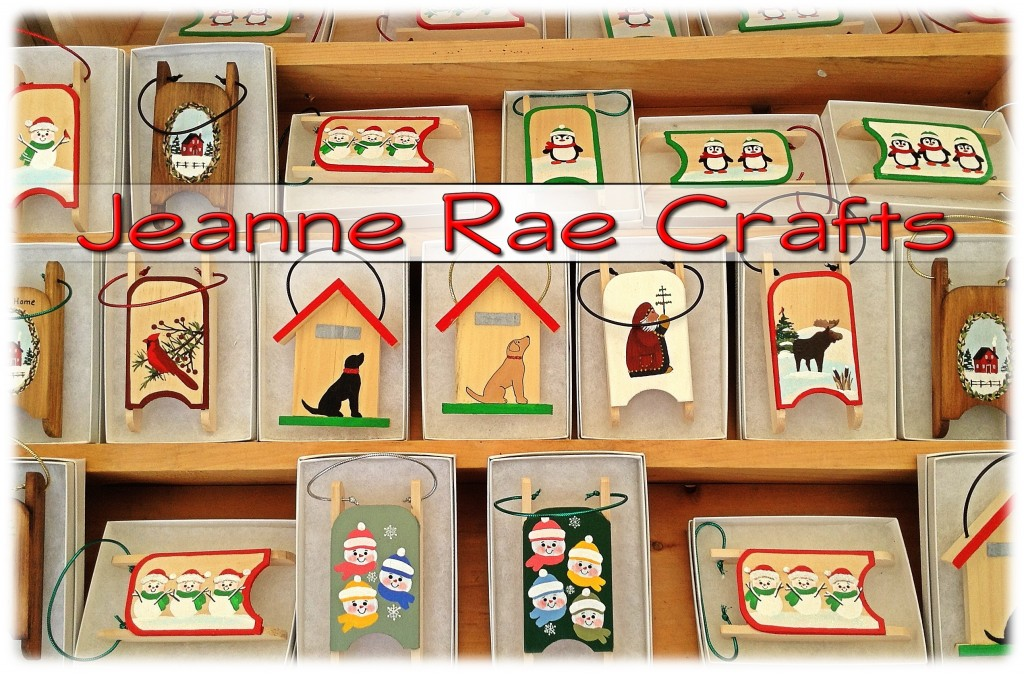 Sled ornaments by Jeanne Rae Crafts