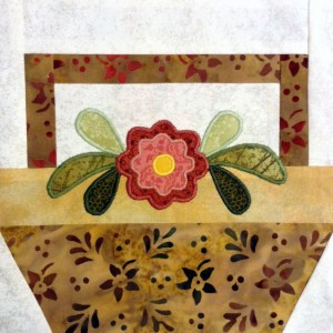 Zinnia in Basket 1, Flower Basket Quilt
